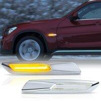 LED Seiten Blinker Klarglas CHROM für BMW 1er E81 E82 E87 E88 | X1 E84