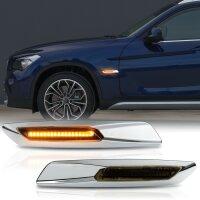 LED Seiten Blinker Smoke CHROM für BMW 1er E81 E82 E87 E88 | X1 E84
