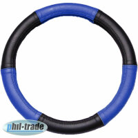 Steering Wheel Cover Black Blue Real Leather M 37 38 39...