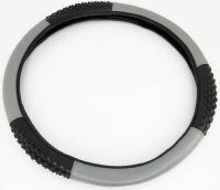 Steering Wheel Cover Black Grey Carbon Design with Rubber...