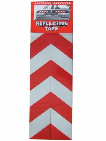 2x Warning Sign Red White Stripes Reflective Sticker Reflector 30 x 5cm M3