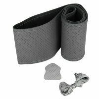 Steering Wheel Cover Grey Real Leather Perforated Cushioned Laced 37-39cm K1027