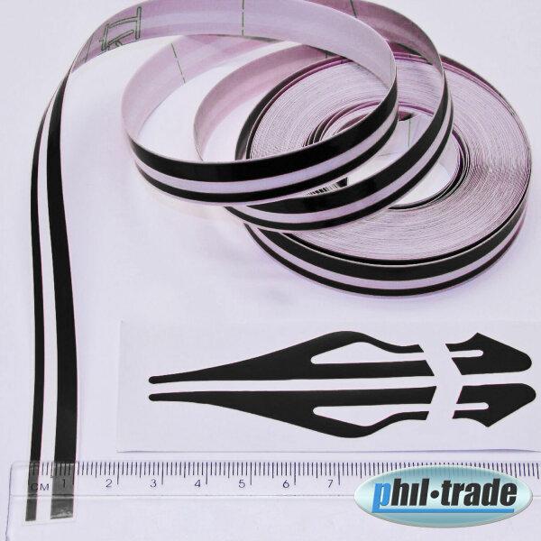 Double Trim Strips Pin Stripe Black Universal 10m x 10mm Incl Anfang + Ends