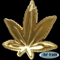 3D Chrome Sticker Cannabis Sheets Gold Weed Grass Hemp Marijuana Pot L005