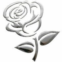 Aufkleber Sticker Silber Chrom 3D Emblem ROSE Blume Auto...
