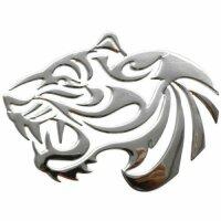 Sticker Silver Chrome 3D Emblem Tiger Car Motorcycle...