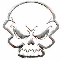 Sticker Silver Chrome 3D Emblem Skull Skull Car...