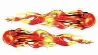 2 Flames Flames Sticker Red Orange Design Foil Car Tribal...