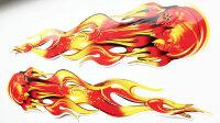 2 Flames Flames Sticker Red Orange Design Foil Car Tribal Fireball DZ-3