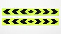 2 Bow Warning Sign Neon Yellow Stripes Sticker Reflector Sticker 40x5cm AN02FG