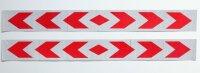 2 XL Bow Warning Sign Red White Stripes Sticker Reflector Sticker 90x10cm AN01