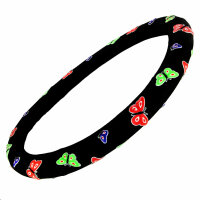Steering Cover Protector Black With Butterfly Pattern...