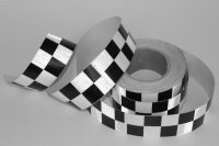 25m 5cm Warning Sticker Black White Reflector Band Honeycomb Chess Check Taxi