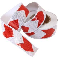 25m 1 31/32in Roll Warning Sign White Red Bow Strip Sticker Reflector Band Hive