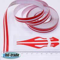 Double Trim Strips Pin Stripe Red Car Universal 10m x 10mm Incl Anfang + Ends
