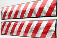 2 x XL Sticker 50x10 3D Hologram Warning Sign Red Silver Reflector Stripes AN21