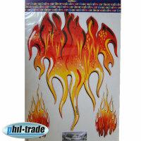 3 Flames Flames Sticker Red Orange Oracal Film Car Tribal Tattoo