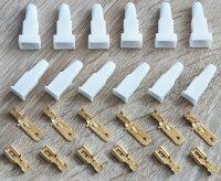 6 x premium Flachstecker Set 6mm Kabel Schuhe Isolierung...