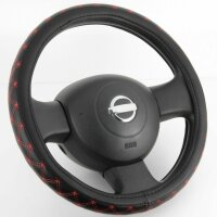 Design Steering Wheel Protector Cover Black Red Seam Leatherette 37 38 39 CM [