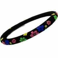 Steering Wheel Cover Black with Flowers Pattern Power 37 38 39 cm Protector