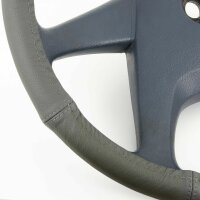 Lorry Steering Wheel Cover 44 45 46 CM Real Leather Anthracite Dark Gray Bus [
