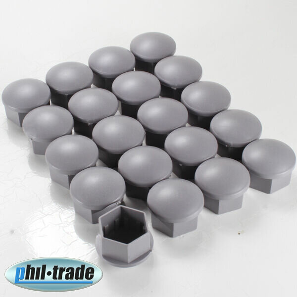 20 Piece Grey Wheel Bolts Caps Sw 0 21/32in Covers Wheel Nuts