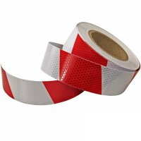 25m 5cm Warning Sign Red White Stripes Reflective Sticker Band Honeycomb