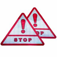 2x Stop Triangle Warning Sign Chrome Red Sticker Reflector Attention AN14STOP