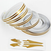 Double Trim Strips Pin Stripe Bronze Gold Matte 10m 10mm Incl Anfang Ends