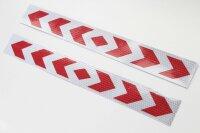 2 Pfeil Warntafel rot weiss Streifen Sticker Reflektor...