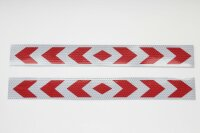 2 Bow Warning Sign Red White Stripes Sticker Reflector Sticker 40x5cm AN02R
