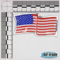 3D Chrome Emblem Sticker Flag USA USA States America L056