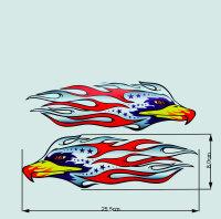 2 X Eagle Falke Sticker 8-25 CM Red Purple Grey Design Foil Tribal Tattoo AAN-1
