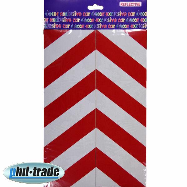 2x Warning Sign Red White Stripes Oracal Film Reflector Sticker 30 x 10 cm M1