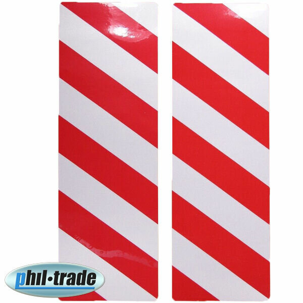 2x Warning Sign Red White Stripes Reflective Reflector Sticker 30 x 10cm M2
