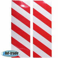 2x Warning Sign Red White Stripes Reflective Reflector...