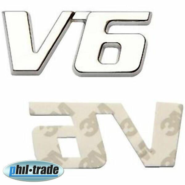 3D Chrom Metall V6 Motor Auto Aufkleber Emblem Logo Schriftzug 3M Kleber NEU