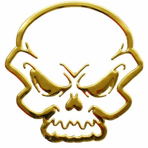 Aufkleber Sticker Gold Chrom 3D Emblem TOTENSCHÄDEL Skull Auto Motorrad