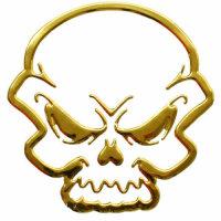 Aufkleber Sticker Gold Chrom 3D Emblem TOTENSCHÄDEL...