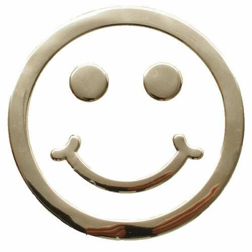 Aufkleber Sticker Silber Chrom 3D Emblem SMILEY Emoji Auto Motorrad