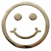 Sticker Silver Chrome 3D Emblem Smiley Emoji Car...