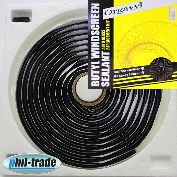 Butyl Dichtband schwarz Montageband Karosserie Dichtung Kotflügel Scheiben 9,5mm