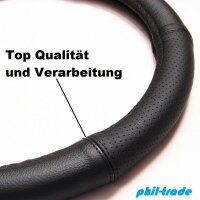 Steering Protector Cover Black half Perforated Real Leather 37 38 39 cm [553]