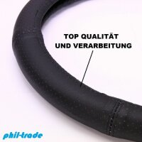 Steering Protector Cover Black Complete Perforated Real Leather 37 38 39 cm [551