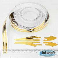 Doppel Zierstreifen Pin Stripe Gold glänzend chrom10m x 7mm incl Anfang Ende